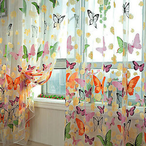 1 X Butterfly Print Sheer Curtain Panel Window Balcony Tulle Room Divider 1M*2M!