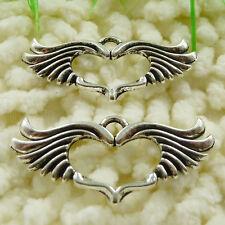 Free Ship 25 pieces tibetan silver wing heart pendant 44x19mm #303