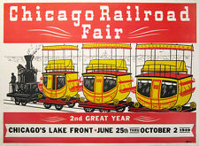 Original CHICAGO RAILROAD FAIR, 1949  2nd YEAR  original linen backed poster