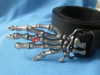 SKELETON HAND GRIM REAPER DEATH SKULL PUNK GOTHIC BUCKLE + LEATHER BELT