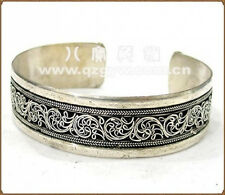 Very Big Vintage Tibetan Multi-Weaving Lotus Filigree Amulet Cuff Bracelet
