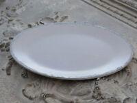 CHIC ANTIQUE*Tablett*Kerzenteller Altrosa oval Shabby Vintage*Glitterkante 28cm