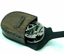 Vintage Brass Sundial Compass Leather Case Directional Marine Navigation Compass