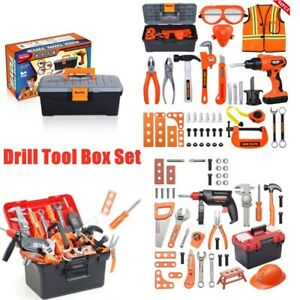 BOYS KIDS CHILDRENS ROLE PLAY BUILDER TOY  TOOL SET & CARRY CASE WITH DRILL New