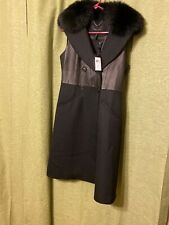 Bcbg Maxazria double breasted Leather Vest W/detachable Real Fox Fur Collar