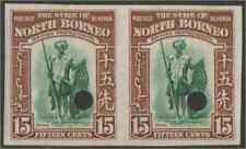 North Borneo 1939 Dyak Warrior 15c imperf proof pair