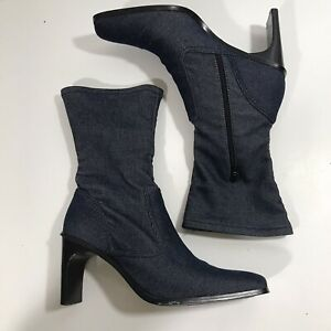 EnZo Angiolini MId Calf Nylon Heeled Boot Side Zip Stretch 8.5 Blue Denim Look