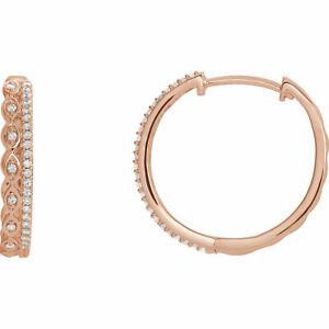 Diamond Geometric Hoop Earrings In 14K Rose Gold (1/4 ct. tw