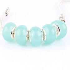 5pcs Jelly Light blue MURANO bead LAMPWORK fit European Charm Bracelet