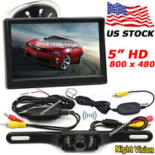 """5"""" TFT LCD Color Car Rear View Monitor +License Plate Wireless IR Backup Camera"""