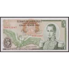 TWN - COLOMBIA 406f1 - 5 Pesos Oro 1/10/1978 UNC