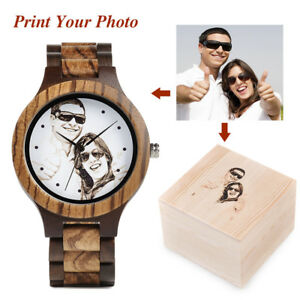 Custom Picture UV Printing Your Photo for Men Wood Watch Bamboo Wood Wristwatch