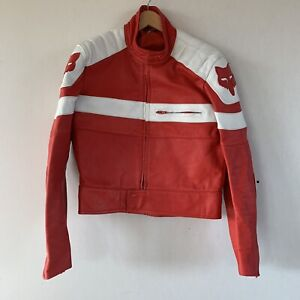 Vintage Fox Racing Motorcycle Padded Leather Jacket Mens - Excellent Condition