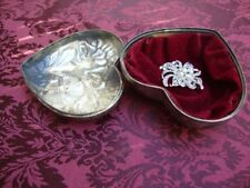 Vintage Ornate Silver Plated Heart Shaped Metal Jewelry Box Lined with Velvet