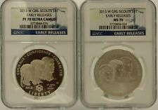 SET OF 2 2013 W $1 SILVER GIRL SCOUTS NGC PF69 UCAM ER/ NGC MS 70 ER