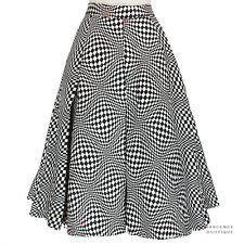 JW Anderson Black White Illusion Quilted Silk Box Pleat Circular Skirt UK8 IT40