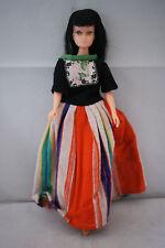 teenage Barbie clone doll black hair bangs cat eyes 60's