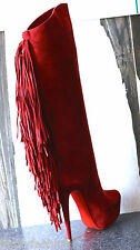 NIB CHRISTIAN LOUBOUTIN INTERLOPA 160 RED SUEDE PLATFORM FRINGE BOOTS SHOES 38
