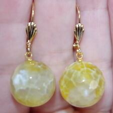 GORGEOUS YELLOW MICRO FACETED TOPAZ 14K GF 15 MM LARGE LEVER BACK EARRINGS