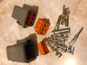 Deutsch DTP 6-Pin Connector Plug Kit 14-12-10 AWG EZ crimp DTP04-6P DTP06-6S