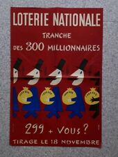 AFFICHE ANCIENNE ORIGINALE DE GROVE LOTERIE NATIONALE Annees 50.. 38 X 57 CM