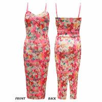Women's Ladies Bodycon Strappy Floral Flower Print Midi Party Dress SZ 8-14