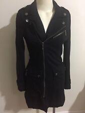 Ladakh Jacket Trench Coat Black Lined Bronze Zip Pockets Cotton Stud Detail Fold