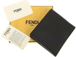 NEW FENDI ROMA BLACK ROMAN LEATHER CURRENT CREDIT CARD BIFOLD WALLET
