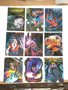 1995 Fleer ULTRA X-Men HUNTERS & STALKERS RAINBOW INSERT  9 CARD SET! DEADPOOL!