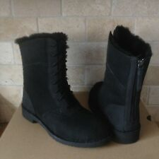 UGG Daney Black Suede Sheepskin Cuff Lace up Zip Short Boots Size US 9 Womens