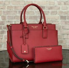 KATE SPADE CAMERON LEATHER SATCHEL CROSSBODY SHOULDER BAG PURSE WALLET SET Red