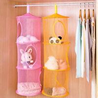 3-Layers Hanging Storage Mesh Net Bathroom Closet Socks Bra Ties Toys Organizer