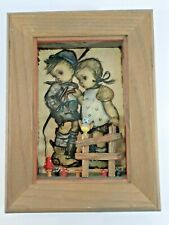 Vintage Hummel Emil Fink 3D Shadow Box Wood Framed Art - boy girl bird mushroom
