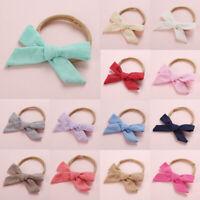 Kids Baby Toddler Cotton Linen Nylon Bow Headband Soft Hairband Hair Ring Rope