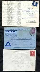 p428 - Canada Military Lot of (3). Cover, Censored Air Letter & Postcard. FPO