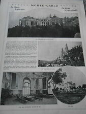 Monte Carlo Nouveau Plais Terrasses Casino Salles de Jeu Golf Print Humour 1912