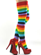 Women Winter Long Boot Socks Rainbow long Leg Warmers Knee Stocks