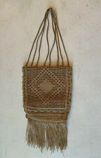 vintage hand crochet purse with fringe beautiful work lined