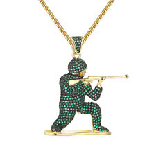 Army Man Soldier Pendant Shooting Green Simulated Diamond HipHop Gold Tone Chain