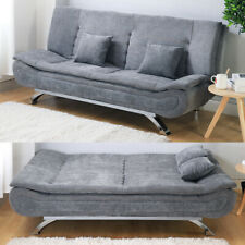 GREY SOFA BED 3 SEATER SETTEE FABRIC DOUBLE COUCH LOUNGE FUTON MODERN SOFA COUCH
