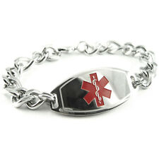MyIDDr - Mens - Pre Engraved EPILEPSY Medical Bracelet, Free ID Card