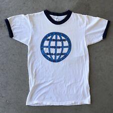 Vintage 70s T Shirt 100% Cotton Artex Medium White Ringer Graphic Band 1970s