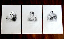 3 Original Engravings of Polish Heroines - ca. 1840 - 19th Century Poland - Rare
