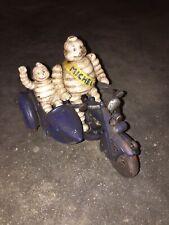 Michelin Tire Men Motorcycle Cast Iron Patina Finish Toy Set Lot Antique Style E