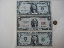 4/LOT:1 Red Seal $2 Bill, 2  $1 Bills Of Blue Seal & * +1 Old One Cent USA Coin