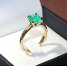 1CT ROUND NATURAL GLOW NEON COLOMBIAN EMERALD ENGAGEMENT PROMISE RING 14K GOLD P