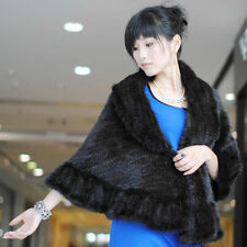 Real Genuine Knit Mink Fur Stole Cape Shawl Scarf Coat Ladies Fur clothing-Black