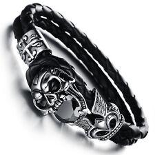 Herren Armband Schwarz geflochten Leder Zirkonia Edelstahl Skull Totenkopf -H846