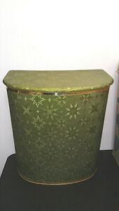 Vintage Detecto Clothes Hamper- Starburst Avocado Green Metal Back