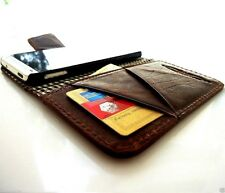genuine vintage leather case for iphone 4s 4 cover book wallet stand holder Skin